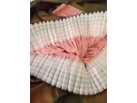 Pair of Silk Curtains, Pink Lined and Blackout Interlining, each curtain 4m wide x 2.5m drop