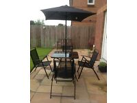 4 Seater Patio Set & 80cm Square Glass Table with Parasol & Base