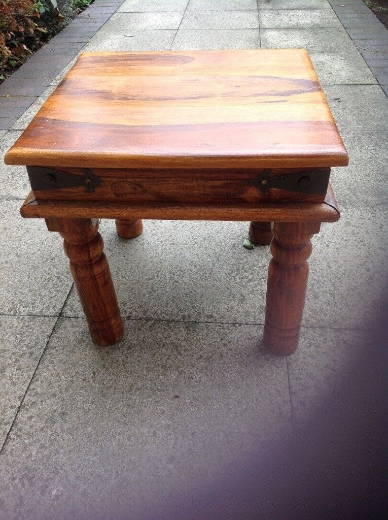 Indian Square Coffee Table £30 -size 46cm wide (18'') x 45cm (17.5'') deep x 41.5cm (16'') tall
