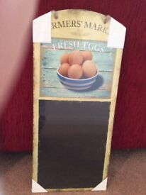 Wood mounted chalkboard rustically decorated brand new still in original packaging