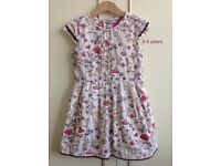 Shrinking violet fine cord girls summer dress with floral and animal print. 5-6 years/116 cm.