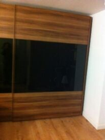 Wardrobes Ikea Pax x4 nrly new -2x st.steel with frosted glass doors, 2x mid-brown with mirror doors