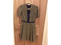 Navy/beige yellow woven pattern vintage style dress size 10