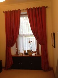 Curtains - fully thermal lined with ring headings to suit Victorian window.