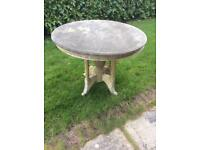 Shabby chic table wooden base marble top