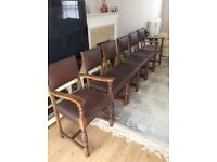 Lovely Set of 6 Antique Oak Dining Chairs - 2 Carvers + 4 Chairs