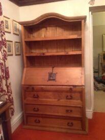 Solid Pine Wooden Bureau and shelves