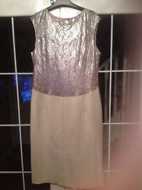 Next dress pale gold/cream size 14 tall new with tags