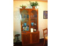 Reproduction French Yew Glass Door Cabinet