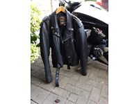 Large motor cycle leather jacket