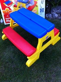 Childrens Fold Flat Summertime Picnic Table NEW BOXED
