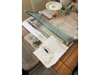 Bathroom glass shelf/towel rail
