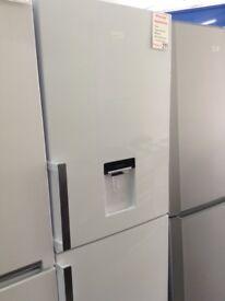 Beko white fridge freezer. Water dispenser 12 month Gtee