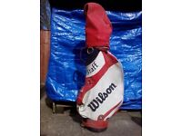 Red and white Wilson golf bag
