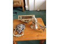 Solid brass letter box , knocker & bell