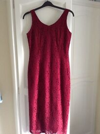 RED LACE DRESS FULLY LINED