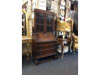 Vintage oak writing bureau bookcase