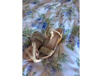 Gold glitter wedges size 7