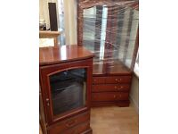 John Coyle cherrywood display cabinate and hi if cabinate. Both in good condition.