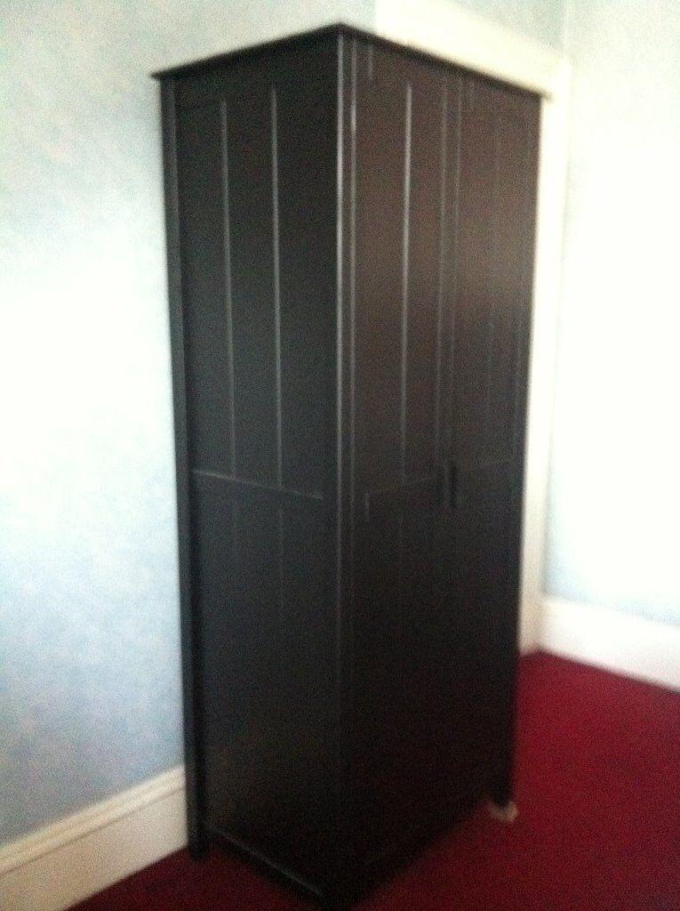 Small black wardrobe, wood veneer, 1 hanging rail inside