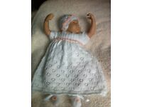 Hand knitted Baby/Reborn Doll dress outfit