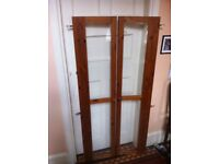 Pair of Reclaimed Wooden Cabinet Bookcase Doors with Glass and Knobs & Hinges / Can Deliver