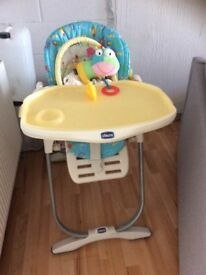 Chicco highchair suitable from birth with comfy padded wipeable seat