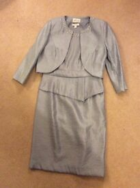 Précis silver grey shimmer dress and jacket