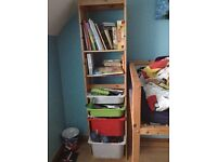 Tall, skinny children's bookcase in pine and primary colours