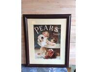 framed retro Pears soap advertising poster