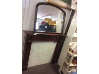 Mahogany fire surround with overmantle mirror