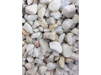 White Spanish marble garden and driveway chips/ stones/ gravel