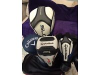 Full set of Taylormade Clubs and Woods FW7 Powerkaddy double lithium battery and other bits.