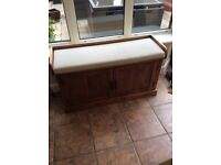 Beautiful solid wood storage cupboard with seat.
