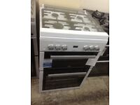 Beko freestanding gas cooker with glass lid. 60cm white. £349. New/graded 12 month Gtee