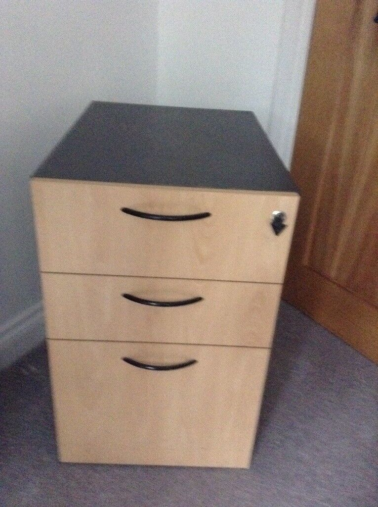 Beech Effect 3 Drawer Filing Cabinet Fits Under Desk