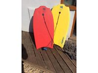 """2 x body boards TRIBORD 38"""". Yellow and red."""