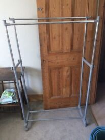 Double clothes rail on wheels for sale