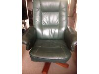 Green leather type swivel chair