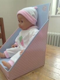 JOHN LEWIS 'CHLOE' BABY DOLL IN BOX. BRAND NEW IN BOX. SQUEEZABLE. REMOVABLE OUTFIT AND HAT