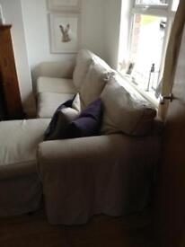 Lovely chaise lounge sofa with loose linen covers