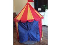 Red, yellow and blue IKEA childrens circus tent play den