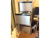 Wooden filing cabinet 4drawers in grey with lock and fully stocked with hanging files collect only