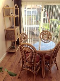 Cane Dining Set with Etergere