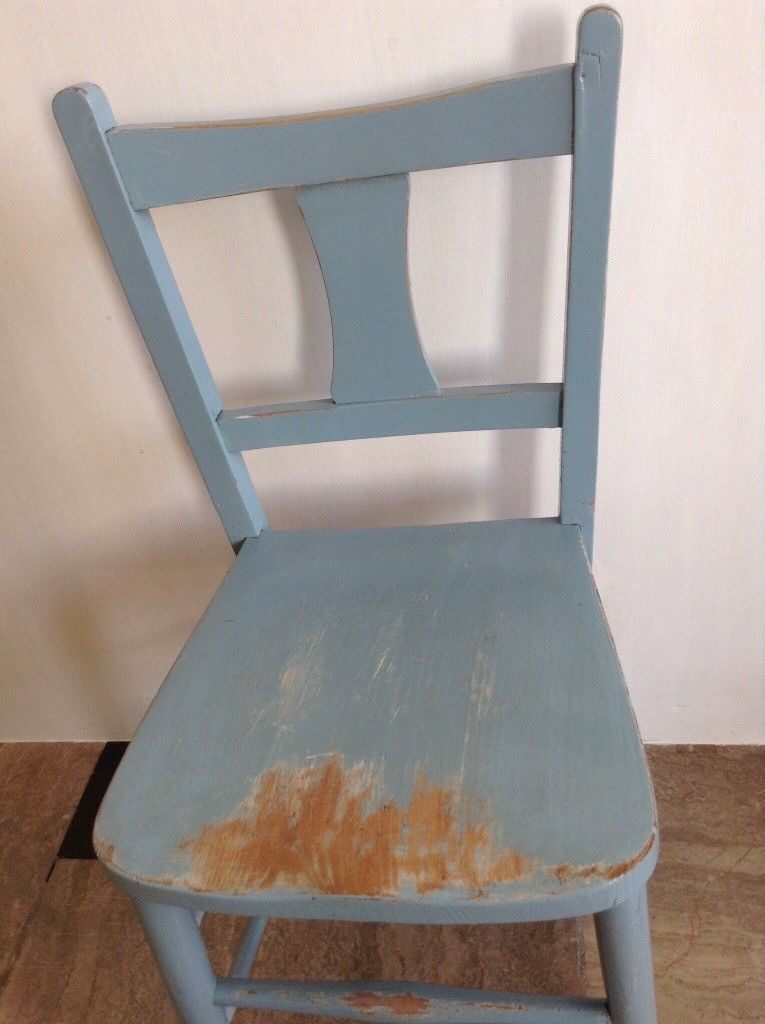 Kids' blue wooden chair, vintage (toddlers, boys, girls)