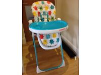 Costatto highchair, adjustable, easy clean and fold away. Seat reclines, excellent condition