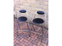 Pair of chrome bar stools