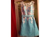 Turquoise dress with overlay of white lace with underskirt size 14