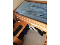 Cabin bed, 3' adult single, with pull-out desk, sturdy pine. Selling without mattress.