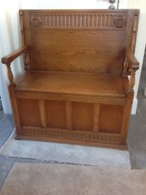 A Solid Oak Monks Bench/Settle